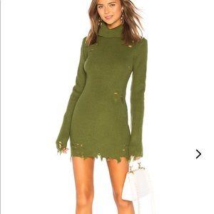 Lovers + Friends Keeney distressed dress in olive